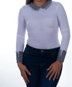 Kikiriki fehér kockás galléros női felső