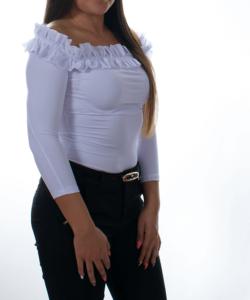 Kikiriki fehér fodros vállú női felső