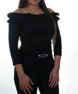 Kikiriki fekete fodros vállú női felső