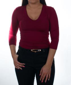 Kikiriki bordó v-nyakú női felső