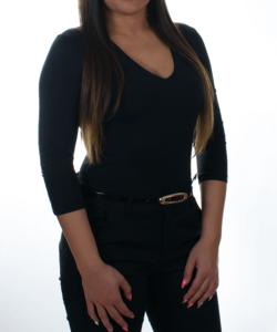 Kikiriki fekete v-nyakú basic női felső