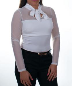 Fehér neccbetétes masnis női body