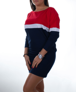 Sötétkék-piros denevér ujjú női tunika