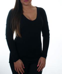 Fekete finomkötött női pulóver