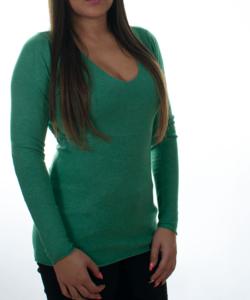Fűzöld finomkötött női pulóver