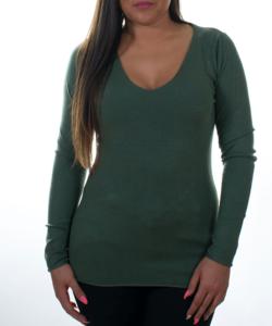 Khaki zöld finomkötött női pulóver