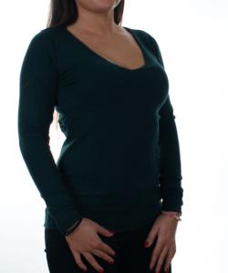 Mélyzöld finomkötött női pulóver