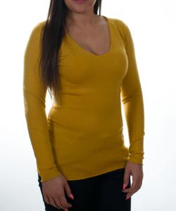 Mustársárga finomkötött női pulóver