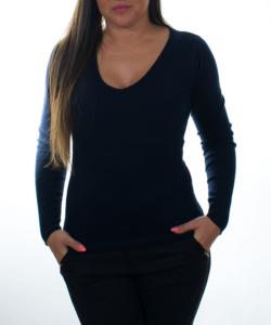 Sötétkék finomkötött női pulóver