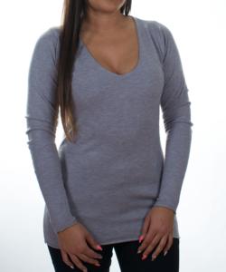Szürke finomkötött női pulóver