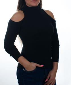 Kikiriki fekete bordázott kivágott vállú női felső