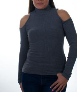 Kikiriki szürke bordázott kivágott vállú női felső