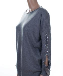 Szürke gyöngyös ujjú finomkötött női pulóver