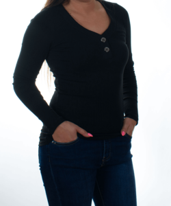 Fekete bordázott gombos női felső