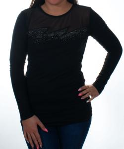 Fekete hálós nyakú strasszos női felső