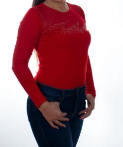 Piros hálós nyakú strasszos női felső