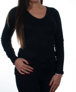 Fekete csillogós kötött női pulóver
