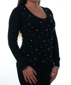 Fekete gyöngyös kötött női pulóver