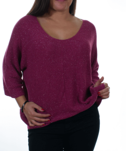 Mályva csillogós bőfazonú kötött női pulóver