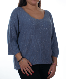 Szürke csillogós bőfazonú kötött női pulóver