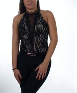 Fekete-bézs csoda csipkés női body