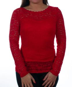 Élénk piros csipkés hátul áttetsző női felső