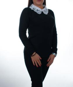Fekete hímzett csipkés ingnyakú női pulóver 82e0968148