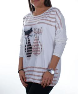 Fehér cicás női felső