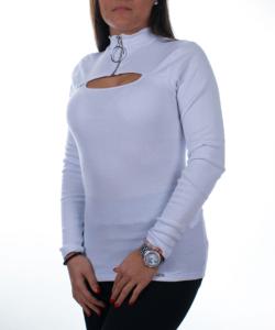 Fehér bordás sztreccs női felső