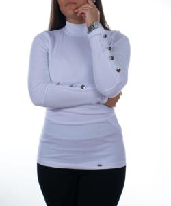 Fehér  díszgombos bordás női sztreccs felső