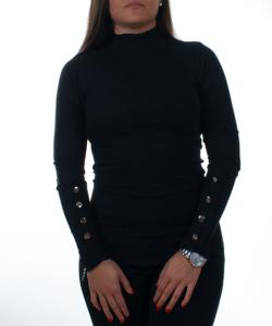 Fekete  díszgombos bordás női sztreccs felső