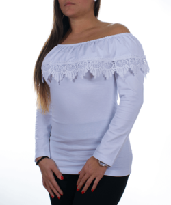 Fehér fodros váll nélküli női felső