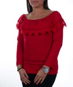 Piros fodros váll nélküli női felső