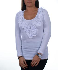 Fehér fodros női felső