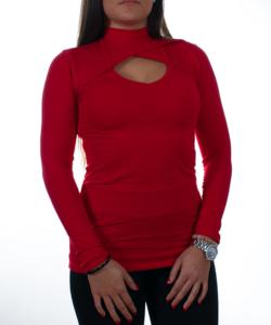 Piros garbó nyakú elől kivágott  női felső