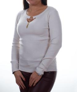Bézs bordázott nyaknál díszített sztreccs női pulóver