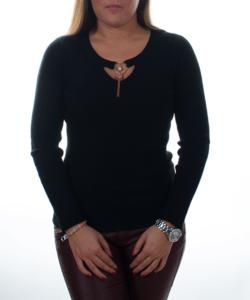 Fekete bordázott nyaknál díszített sztreccs női pulóver f504d17a86