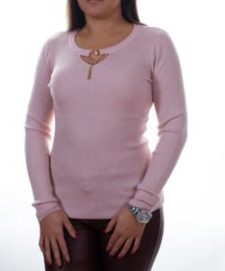 Púder színű bordázott nyaknál díszített sztreccs női pulóver