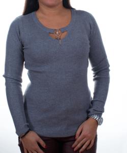 Szürke bordázott nyaknál díszített sztreccs női pulóver