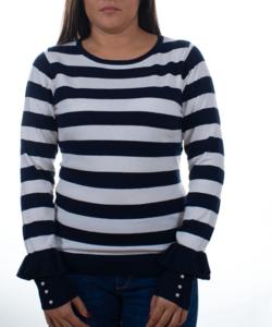 Sötétkék-fehér csíkos fodros ujjú  női pulóver