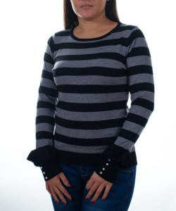 Fekete-szürke csíkos fodros ujjú  női pulóver