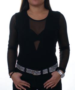 Fekete tüll betétes női body