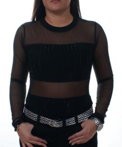 Fekete strasszos tüllös női body