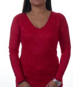 Piros  lurexszálas finomkötött női pulóver