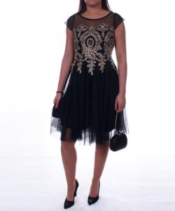 Fekete barokk arany díszes tüll női alkalmi ruha