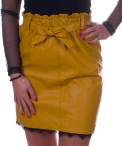 Csipkeszegélyes mustár női műbőr miniszoknya