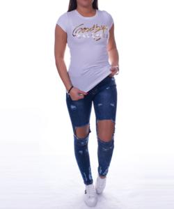 Feliratos fehér női póló
