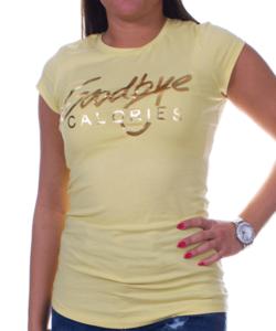 Feliratos sárga női póló