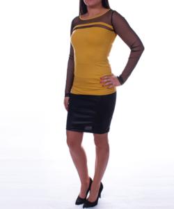 Tüllbetétes mustár női felső