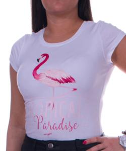Fehér flamingós női póló rózsaszín felirattal
